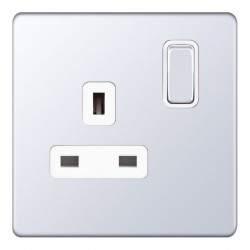 Selectric 5M-Plus Screwless Polished Chrome 1 Gang 13A DP Switched Socket with White Insert