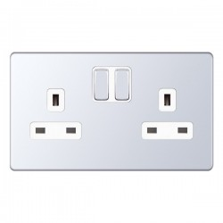 Selectric 5M-Plus Screwless Polished Chrome 2 Gang 13A Switched Socket with White Insert