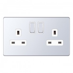 Selectric 5M-Plus Screwless Polished Chrome 2 Gang 13A DP Switched Socket with White Insert