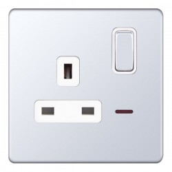 Selectric 5M-Plus Screwless Polished Chrome 1 Gang 13A DP Switched Socket with Neon and White Insert