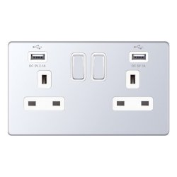 Selectric 5M-Plus Screwless Polished Chrome 2 Gang 13A Switched Socket with USB Outlet and White Insert
