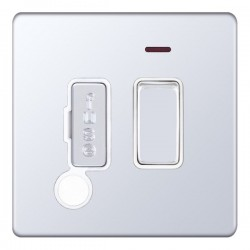 Selectric 5M-Plus Screwless Polished Chrome 13A DP Switched Fused Connection Unit with Flex Outlet, Neon, and White Insert