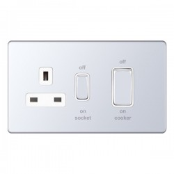Selectric 5M-Plus Screwless Polished Chrome 45A DP Switch and 13A Switched Socket with White Insert