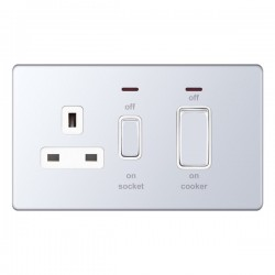 Selectric 5M-Plus Screwless Polished Chrome 45A DP Switch and 13A Switched Socket with Neon and White Insert