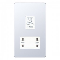 Selectric 5M-Plus Screwless Polished Chrome 115/230V Dual Voltage Shaver Socket with White Insert
