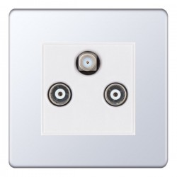 Selectric 5M-Plus Screwless Polished Chrome Triplex Sat/TV/FM Socket with White Insert