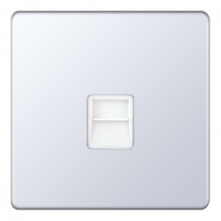 Selectric 5M-Plus Screwless Polished Chrome 1 Gang Telephone Secondary Socket with White Insert