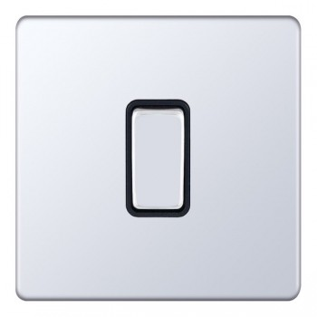 Selectric 5M-Plus Screwless Polished Chrome 1 Gang 10A 2 Way Switch with Black Insert