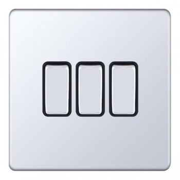 Selectric 5M-Plus Screwless Polished Chrome 3 Gang 10A 2 Way Switch with Black Insert
