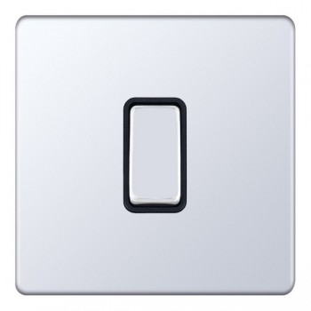Selectric 5M-Plus Screwless Polished Chrome 1 Gang 10A Intermediate Switch with Black Insert