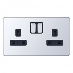 Selectric 5M-Plus Screwless Polished Chrome 2 Gang 13A Switched Socket with Black Insert