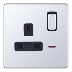 Selectric 5M-Plus Screwless Polished Chrome 1 Gang 13A DP Switched Socket with Neon and Black Insert