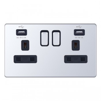 Selectric 5M-Plus Screwless Polished Chrome 2 Gang 13A Switched Socket with USB Outlet and Black Insert