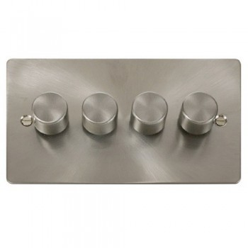 Click Define Brushed Steel Flat Plate Quad Dimmer Switch