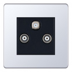 Selectric 5M-Plus Screwless Polished Chrome Triplex Sat/TV/FM Socket with Black Insert