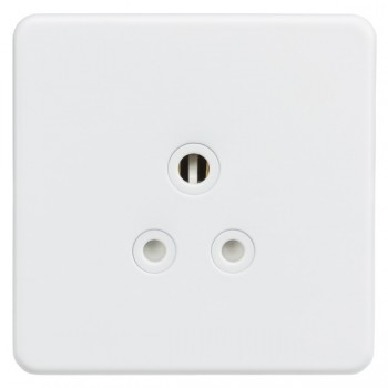 Knightsbridge Screwless Matt White 5A Unswitched Round Pin Socket - White Insert