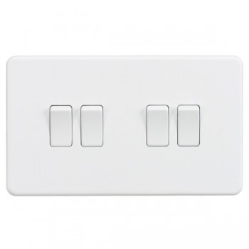 Knightsbridge Screwless Matt White 10A 4 Gang 2 Way Switch