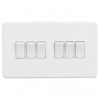 Knightsbridge Screwless Matt White 10A 6 Gang 2 Way Switch