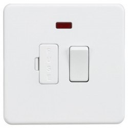 Knightsbridge Screwless Matt White 13A 1 Gang Switched Fused Spur Unit with Neon