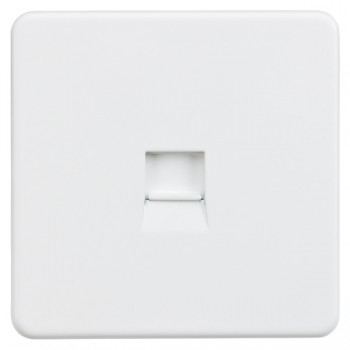 Knightsbridge Screwless Matt White Telephone Master Socket