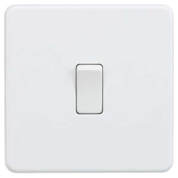 Knightsbridge Screwless Matt White 20A 1 Gang DP Switch
