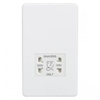 Knightsbridge Screwless Matt White Dual Voltage 115/230V Shaver Socket - White Insert