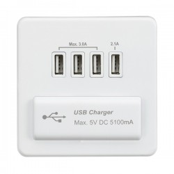 Knightsbridge Screwless Matt White 1 Gang Quad USB Charger Outlet - White Insert
