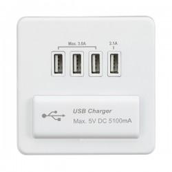 Knightsbridge Screwless Matt White 1 Gang Quad USB Charger Outlet - White Insert