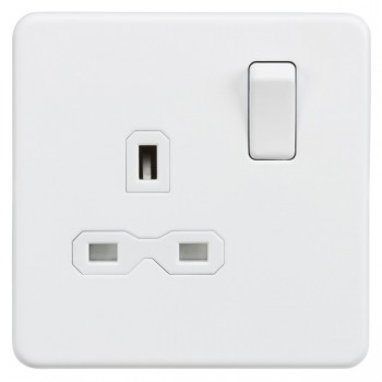 Knightsbridge Screwless Matt White 13A 1 Gang DP Switched Socket - White Insert