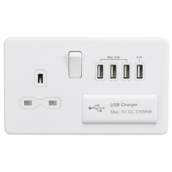 Knightsbridge Screwless Matt White 13A Switched Socket with Quad USB Charger - White Insert
