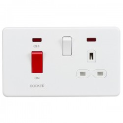 Knightsbridge Screwless Matt White DP Switch and 13A DP Switched Socket with Neons - White Insert