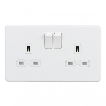 Knightsbridge Screwless Matt White 13A 2 Gang DP Switched Socket - White Insert