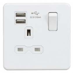 Knightsbridge Screwless Matt White 13A 1 Gang Switched Socket with Dual USB Charger - White Insert