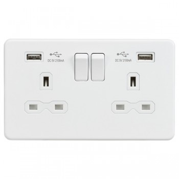 Knightsbridge Screwless Matt White 13A 2 Gang Switched Socket with Dual USB Charger - White Insert