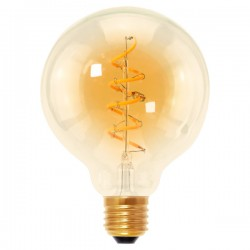 Segula Design Line 4W 2000K Dimmable E27 Golden Globe 95 LED Bulb with Curved Spiral Filament