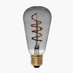 Segula Design Line 4W 2200K Dimmable E27 Grey Rustica LED Bulb with Curved Spiral Filament