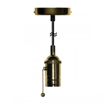 Segula Xtra Line Brass Atlanta Pull Switch Pendant with Brown Textile Cable