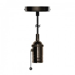 Segula Xtra Line Black Atlanta Pull Switch Pendant with Black Textile Cable