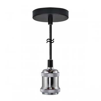 Segula Xtra Line Silver Chicago Pendant with Black Textile Cable
