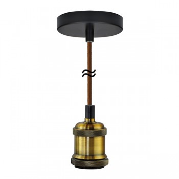 Segula Xtra Line Brass Chicago Pendant with Brown Textile Cable