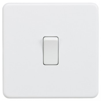 Knightsbridge Screwless Matt White 10A 1 Gang 2 Way Switch