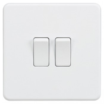 Knightsbridge Screwless Matt White 10A 2 Gang 2 Way Switch
