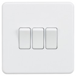Knightsbridge Screwless Matt White 10A 3 Gang 2 Way Switch