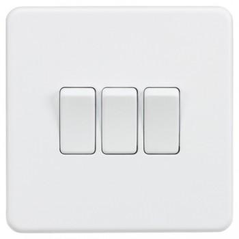 Knightsbridge Screwless Matt White 10A 3 Gang 2 Way Switch