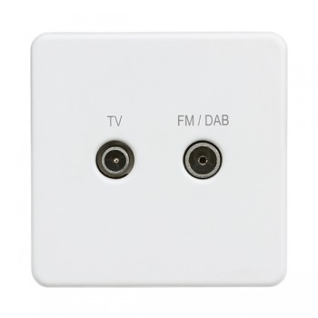 Knightsbridge Screwless Matt White 1 Gang TV FM/DAB Screened Diplex Outlet