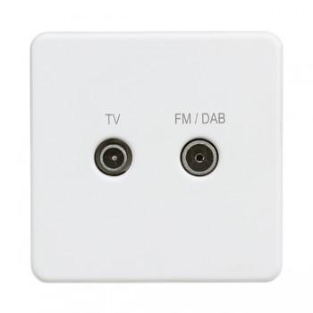 Knightsbridge Screwless Matt White 1 Gang TV FM/DAB Screened Diplex Outlet