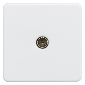 Knightsbridge Screwless Matt White 1 Gang Non-Isolated TV Coaxial Outlet