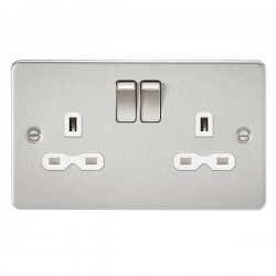 Knightsbridge Flat Plate Brushed Chrome 13A 2 Gang DP Switched Socket - White Insert