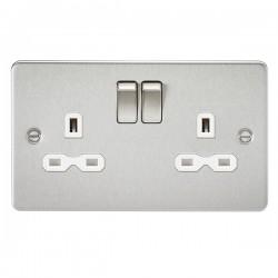 Knightsbridge Flat Plate Brushed Chrome 13A 2 Gang DP Switched Socket - White Insert