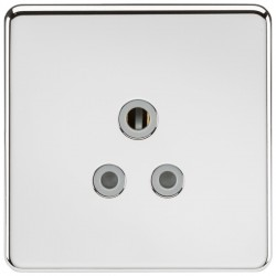 Knightsbridge Screwless Polished Chrome 5A Unswitched Round Pin Socket - Grey Insert
